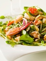 Lobster Salad with Whole Claws, Shrimp and Caviar