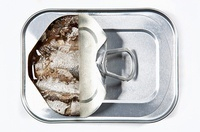 Partially Opened Tin of Sardines; From Above