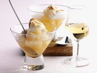 Pear compote with ice cream and slivered almonds