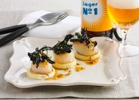 Fried scallops with deep fried herbs and beer
