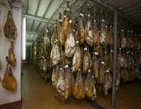Ham drying in a shop, De Jabugo la Canada (Jabugo, Spain)