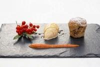 Walnut bake with honey ice cream and rowan purree