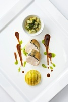 Truffled chicken with ravioli and bouillon potatoes