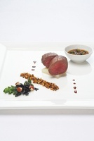 Saddle of venison with minestrone
