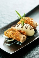 Rosemary Hippen (waffle cookies) with coffee mousse and pear