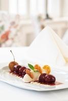 Cherry ragout with tonka bean ice cream