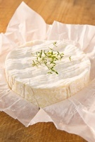 Camembert with thyme on paper