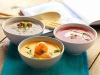 Shrimp soup, mushroom soup and tomato soup (Greece)