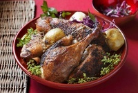 Roast goose legs with red cabbage and herbs
