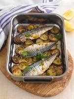 Mackerel and potatoes in a roasting tin