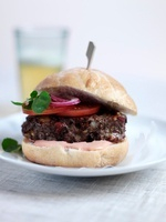 Hamburger with tomatoes and tomato mayonnaise