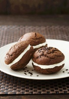 Chocolate Whoopie Pies with vanilla cream cheese and chocola