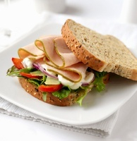 Turkey, lettuce and tomato sandwich