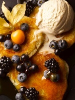 Pancakes with fruit and ice cream