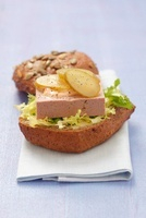 Salad meat pate on a bread roll