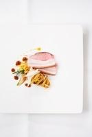 Roast pork belly with tagliatelle salad