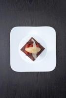 Praline tart with pickled grapefruit and caramel ice cream