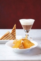 A trio of deserts: chocolate mousse, caramel ice cream and b