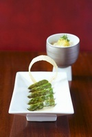 Asparagus with orange butter and Greek rice noodles