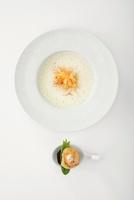 Sauerkraut soup with fried scallops
