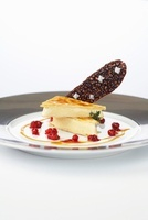 A duo of caramel with lingon berries and chocolate, salted c