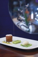 Small lime cake, lime-dill jelly and white chocolate ice cre