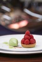 Raspberry tartlet with sorrel-chocolate ice cream