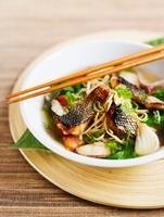 Asian noodle soup with fish