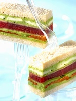 Tuna, mozzarella, basil and tomato confit club sandwich