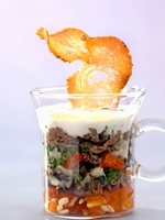 Oxtail salad with apricots and yogurt in a glass