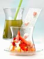 Fruit salad and cold matcha soup