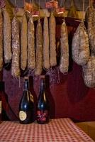 Salami hung in the Trattoria la Buca
