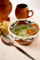 Caldo Verde (green cabbage soup, Portugal) with chorizo and