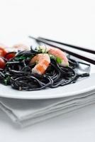 Squid spaghetti with prawns