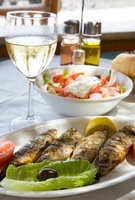Grilled fish (boccacio) and a farm-house salad (Greece)