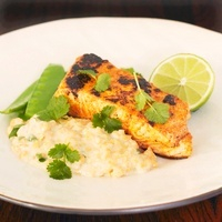 Tandoori salmon with coconut lentils, mange tout and coriand