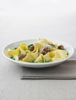 Pappardelle with Salsiccia dumplings and peas