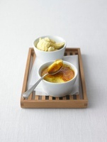 Curried creme brulee and vanilla ice cream