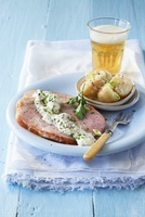 Roasted ham with creme fraiche and potatoes