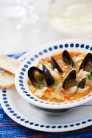 Fiskgryta (fish casserole with muscles, Sweden)