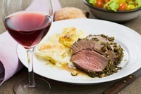 Lamb steak with potato gratin