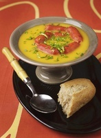 Carrot soup with sausages