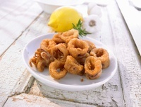 Fried and breaded squid