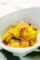 Saffron lemon grass risotto with seafood