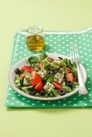 Garden salad with strawberries and feta