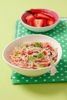 Spaghetti with strawberry mousse, chili and Parmesan