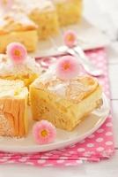 Sponge cake with coconut cream and pineapple