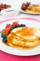 Panckaes with blueberries and strawberries