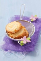 Almond biscuits in a sieve