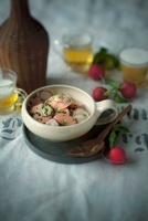 Sausage salad with radishes and onions